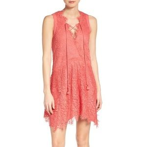 Lace Coral Shift Dress